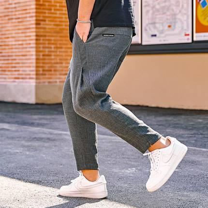 ขนาด:36 38 40 42 44 46 สี:เทา กางเกงคนอ้วน กางเกงผู้ชาย ขนาดใหญ่ กางเกงขายาว