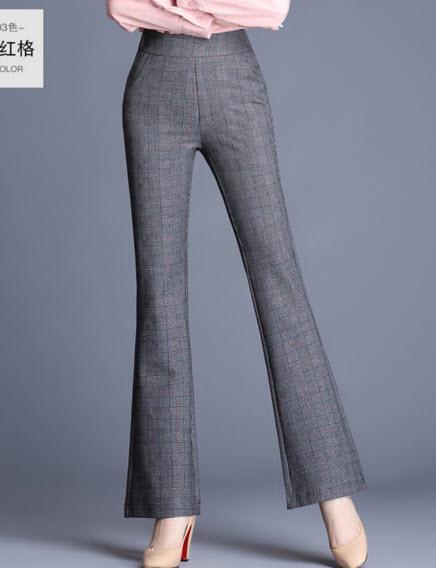 พรีออเดอร์ กางเกงขายาว กางเกงทำงาน สุดหรูทรงเรียบหรูดูดี สม็อกหลัง สี  ดำ เทา ลายตาราง