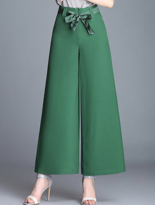 พรีออเดอร์ กางเกงขายาว ทรงขาบานหรูหรา มีสายผูกเอว แต่งซิปหลัง สไตลเรียบหรู สี น้ำตาล  ดำ ขาว โอรส แดง เขียว