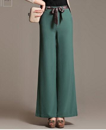 พรีออเดอร์ กางเกงขายาว กางเกงทรงขาบาน มีสายผูกโบว์ด้านหน้า ใส่ทำงานได้ สี ขาว ครีม โอรส แดง เขียว ดำ
