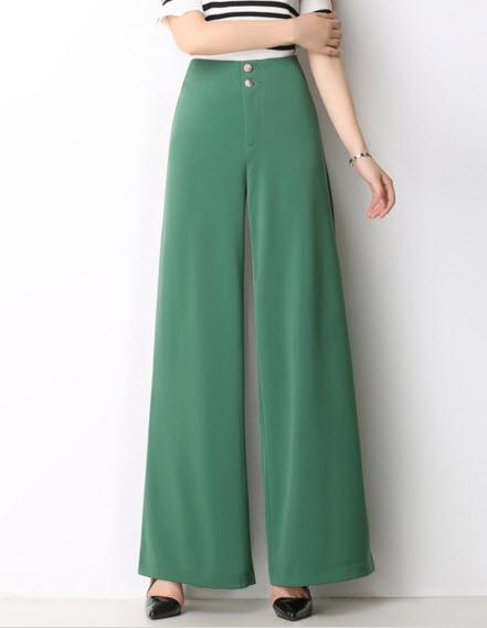 พรีออเดอร์ กางเกงขายาว เอวสูง สไตลเรียบหรู  มีสี เขียว ดำ แดง น้ำตาล