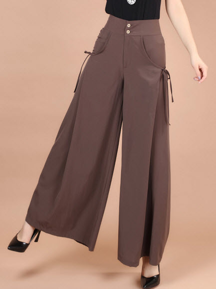 พรีออเดอร์ กางเกงขายาว กางเกงขาบานเนื้อดี มีกระเป๋าใหญ่ด้านข้าง ทรงหรู คอตตอน สี ดำ น้ำตาลเข้ม เทา เขียว