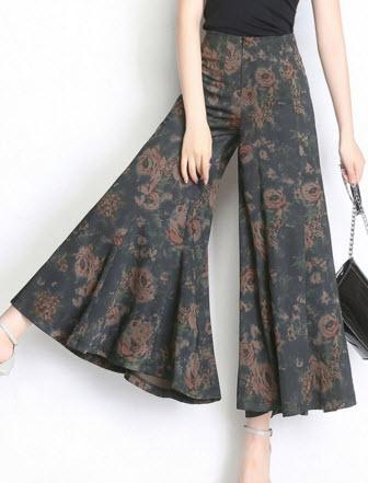 พรีออเดอร์ กางเกงขายาว ห้าส่วน กางเกงขาบาน ลายดอกไม้สวยหรู แต่งชายบานพริ้ว ใส่สบาย หรูหรา สี เทา เขียว ฟ้า และดำ