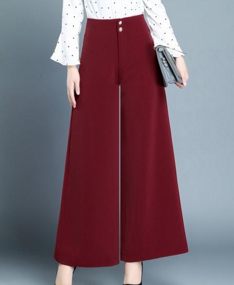 พรีออเดอร์ กางเกงขายาวสุดหรู กางเกงทำงาน เอวสูงแต่งกระดุมหน้า สี ดำ แดง เขียว