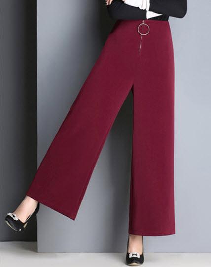พรีออเดอร์ กางเกงขายาว ทรงขาบาน สไตลเรียบหรู สี ดำ แดง