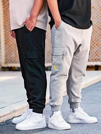 ขนาด:36 38 40 42 44 46 สี:ดำ/เทา กางเกงคนอ้วน กางเกงผู้ชาย ขนาดใหญ่ กางเกงขายาว