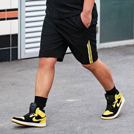 ขนาด:36 38 40 42 44 46 สี:ดำ กางเกงคนอ้วน กางเกงผู้ชาย ขนาดใหญ่ กางเกงขาสั้น