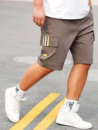 ขนาด:36 38 40 42 44 46 สี:เทา/ดำ กางเกงคนอ้วน กางเกงผู้ชาย ขนาดใหญ่ กางเกงขาสั้น
