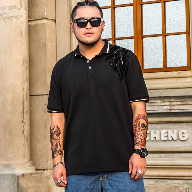 ขนาด:2XL 3XL 4XL 5XL 6XL 7XL 8XL สี:ดำ เสื้อคนอ้วน เสื้อผ้าผู้ชาย ขนาดใหญ่ เสื้อโปโล
