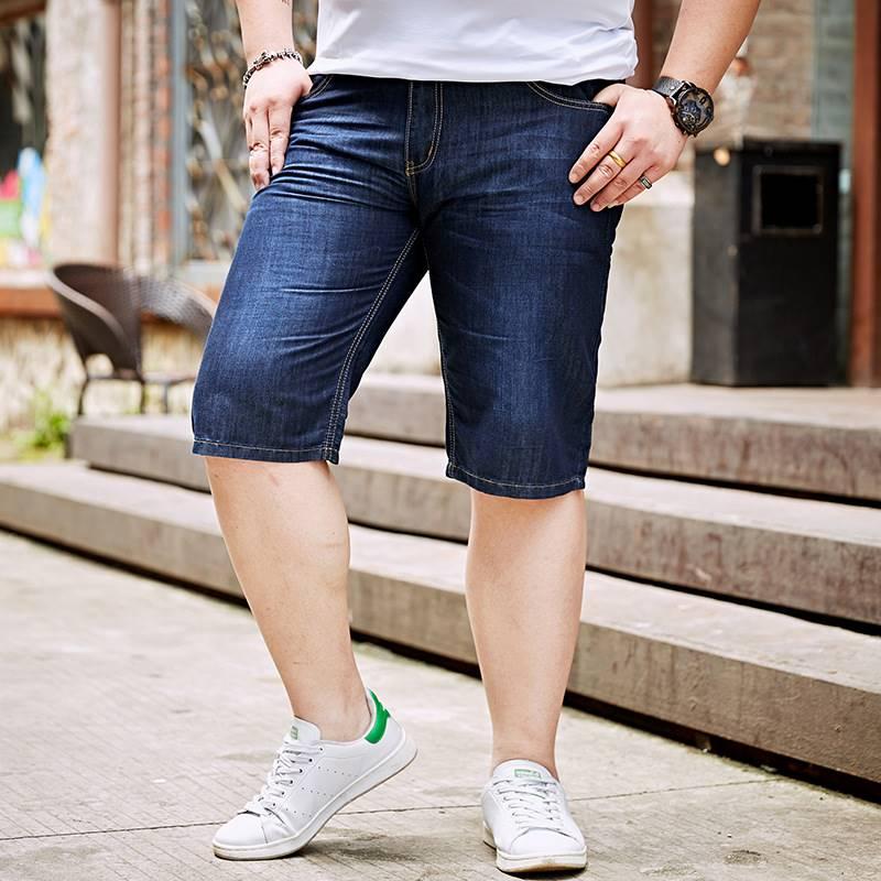 ขนาด:38 40 42 44 46 48 สี:ดำ/น้ำเงิน กางเกงคนอ้วน กางเกงผู้ชาย ขนาดใหญ่ กางเกงยีนส์ ขาสั้น