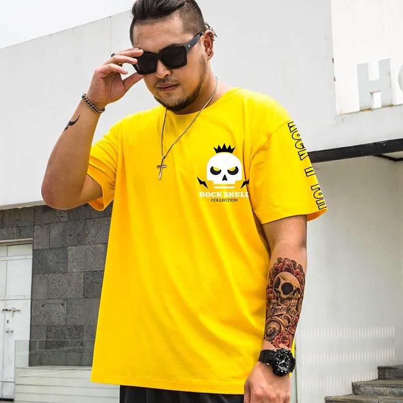 ขนาด:2XL 3XL 4XL 5XL 6XL 7XL 8XL สี:เหลือง เสื้อคนอ้วน เสื้อผ้าผู้ชาย ขนาดใหญ่ เสื้อยืด แขนสั้น