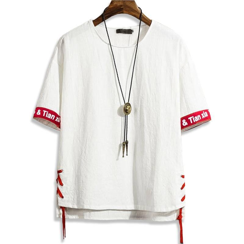ขนาด:2XL 3XL 4XL 5XL 6XL 7XL 8XL สี:ขาว/ดำ เสื้อคนอ้วน เสื้อผ้าผู้ชาย ขนาดใหญ่ เสื้อยืด แขนสั้น