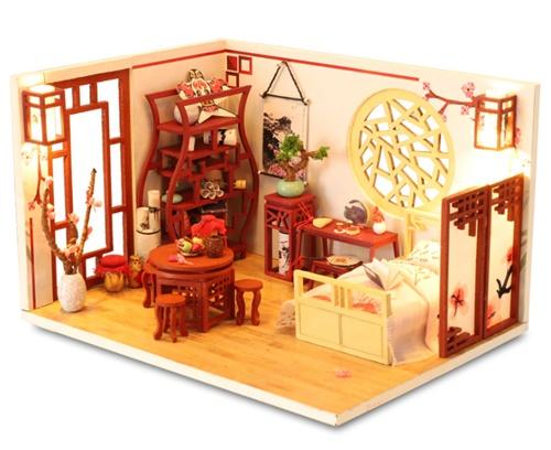 เปิดจอง>> DIYโมเดลห้องนอนสไตล์จีนโบราณ โมเดลจิ๋ว บ้านตุ๊กตา ชุดอุปกรณ์ครบเซ็ตในกล่อง