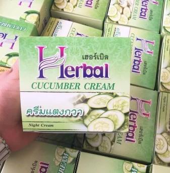 (แบบยกโหล 12 กระปุก) Herbal ครีมแตงกวา