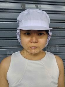 (งานสั่งตัด) หมวกพนักงานฝ่ายผลิต หมวกผ้าทั้งใบ เสริมผ้าเก็บผมท้ายทอย +หลังยางยืด พร้อมแก๊ปหน้า สีขาว 063-632-6441 หมวกพนักงานฝ่ายผลิต