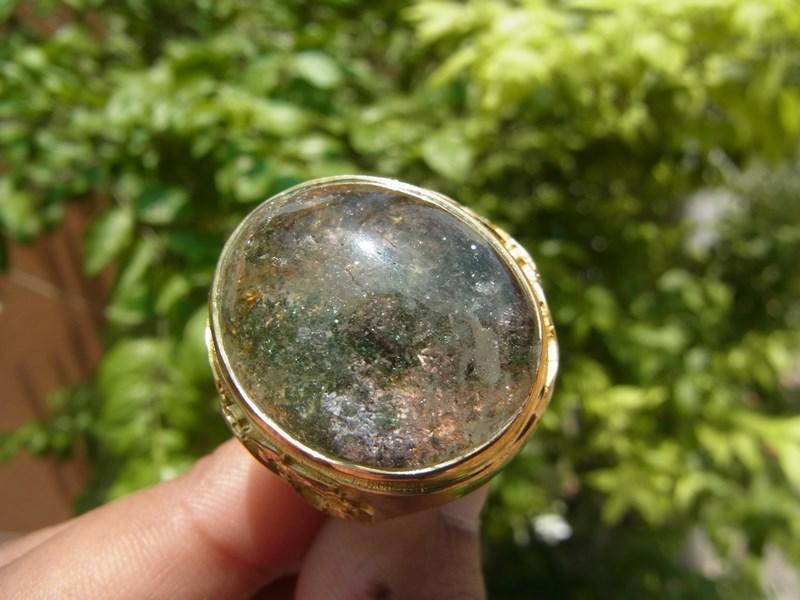 แหวนทองเหลืองชาย ลายมังกร เบอร์ 65 แก้วปวก 4 สี ม่วง ทอง เขียว ดำ