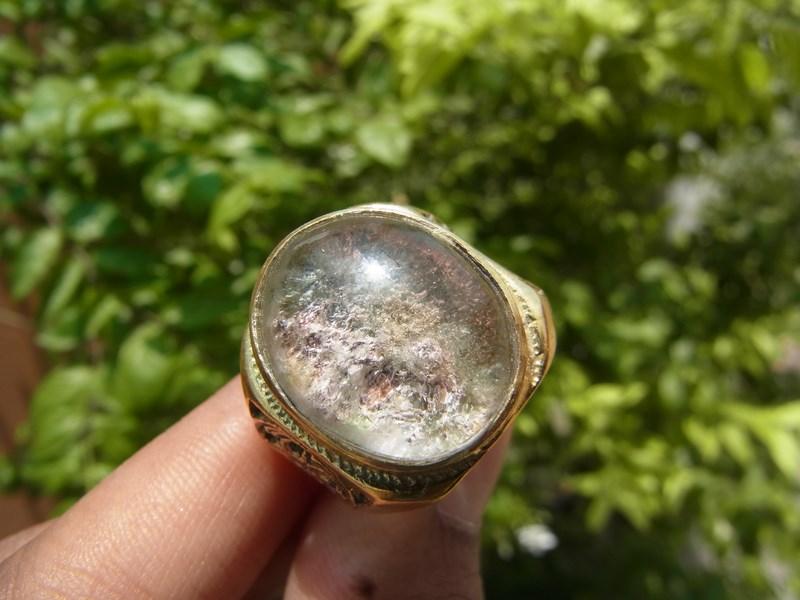 แหวนทองเหลืองชาย เบอร์ 60 แก้วปวกสีชมพู ม่วง เขียว เงิน