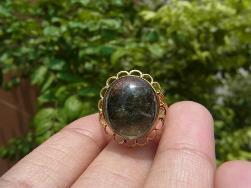 แหวนทองเหลืองหญิง เบอร์ 52 แก้วปวกเขียวเข้ม