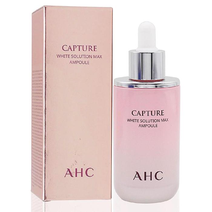 **พร้อมส่ง**AHC Capture White Solution Max Ampoule 50 ml. แอมพูลสูตรเข้มข้น สูตรไวท์เทนนิ่ง รักษาผิวคล้ำหมองคล้ำ กระฝ้า รอยดำ รอยสิว มีส่วนผสมเด็ดคือ อนุพันธ์ของวิตามินซีและสารสกัดหมักที่โมลิกุลเล็กสุดๆ ซึมเข้าผิวได้ลึกสุด จึงทำให้เห็นผลไว ที่จดสิทธิบัตรเ