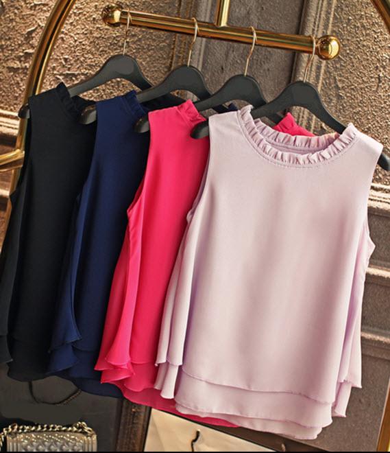พรีออเดอร์ เสื้อแขนกุดสวยๆ  เสื้อชีฟอง ใส่สบาย สีสดใส มีสี แดง ดำ ชมพู ม่วง เขียว ฟ้า เหลืองสด ขาว