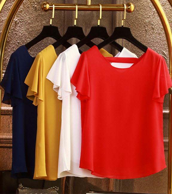 พรีออเดอร์ เสื้อผ้าแฟชั่นสวย ๆ สไตลเกาหลี แขนกุด เสื้อชีฟองใส่สบาย สีสดใส สี ดำ แดง เขียว ฟ้า เหลือง ม่วง ขาว ชมพู เขียวเข้ม