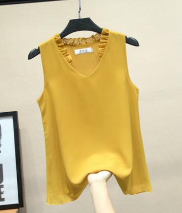 พรีออเดอร์ เสื้อแฟชั่นสวย ๆ แขนกุด ชีฟอง หยักที่คอ ผ้าสวย ใส่สบาย สีพื้นสดใส มี สี เหลือง ดำ เขียว ฟ้าอ่อน โอรส ขาว แดง กรม