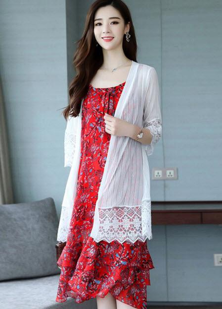พรีออเดอร์ เดรสยาว สายเดี่ยวลายดอกแฟชั่น สวย ๆ สไตลเกาหลี ได้พร้อมกับเสื้อคลุมสีขาว มีสี เหลือง และแดงสด