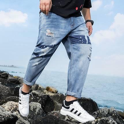 ขนาด:XL 2XL 3XL 4XL 5XL 6XL สี:ฟ้า กางเกงคนอ้วน กางเกงผู้ชาย ขนาดใหญ่ กางเกงยีนส์ ขายาว