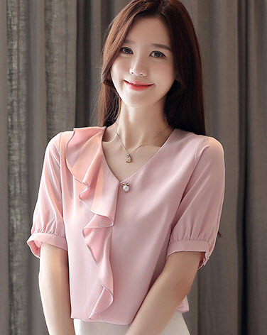 พรีออเดอร์ เสื้อแฟชั่น แขนสั้น แขนตุ๊กตา เสื้อชีฟองเกาหลีสวย ๆ ตัวยาว งานหรูมีระดับ สี พื้น ชมพู