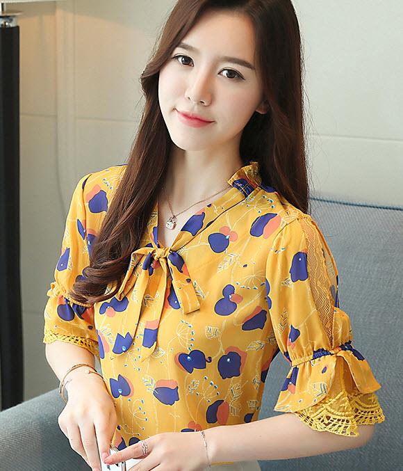 พรีออเดอร์ เสื้อแฟชั่น แขนสั้น จั๊มแขน ลายกราฟฟิก สไตลเกาหลีสุด ๆ คอจีนสวย ๆ สี เหลืองสด