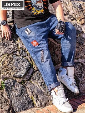ขนาด:36 38 40 42 44 46 48 สี:น้ำเงิน กางเกงคนอ้วน กางเกงผู้ชาย ขนาดใหญ่ กางเกงยีนส์ ขายาว