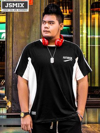 ขนาด:XL 2XL 3XL 4XL 5XL 6XL 7XL สี:ดำ เสื้อคนอ้วน เสื้อผ้าผู้ชาย ขนาดใหญ่ เสื้อยืด แขนสั้น