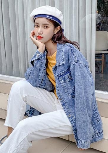 พรีออเดอร์ เสื้อคลุม เสื้อยีนส์แขนยาวสวย ๆ แฟชั่นเกาหลี สี ยีนส์อ่อน