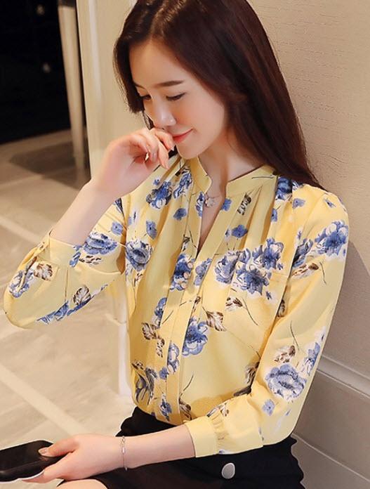 พรีออเดอร์ เสื้อชีฟองสวย ๆ แฟชั่นเกาหลี คอจีน แขนยาว ลายดอกรอบตัว สี เหลือง ขาวแดง