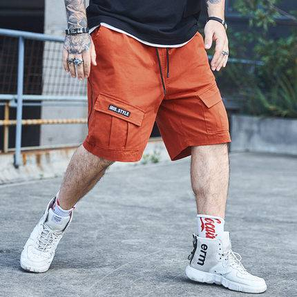 ขนาด:36 38 40 42 44 46 48 สี:ส้ม กางเกงคนอ้วน กางเกงผู้ชาย ขนาดใหญ่ กางเกงขาสั้น