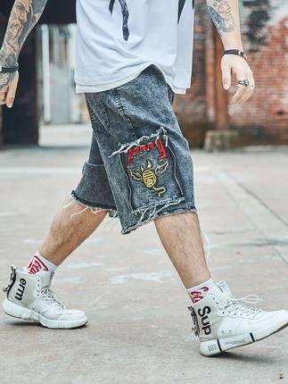 ขนาด:36 38 40 42 44 46 สี:ดำ กางเกงคนอ้วน กางเกงผู้ชาย ขนาดใหญ่ กางเกงยีนส์ ขาสั้น