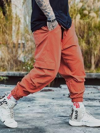 ขนาด:36 38 40 42 44 46 48 สี:ส้ม กางเกงคนอ้วน กางเกงผู้ชาย ขนาดใหญ่ กางเกงขายาว