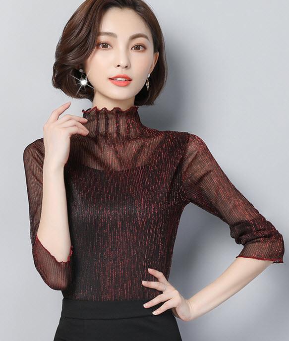 พรีออเดอร์ เสื้อแฟชั่นคอสูงสวย ๆ สไตลเกาหลี คอปีน ซีทรู แขนยาว สี แดง  เขียว และกรม