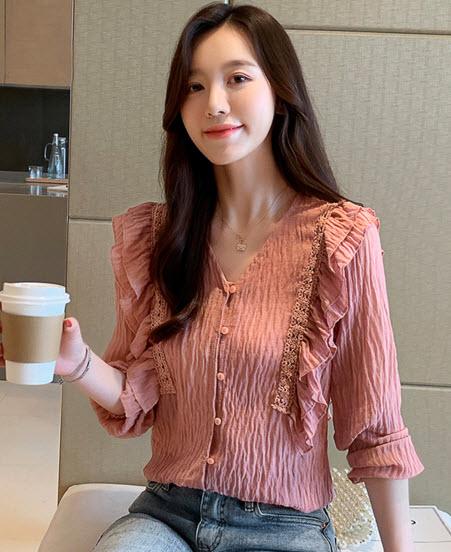 พรีออเดอร์ เสื้อแฟชั่นแขนยาว สไตลเกาหลี เสื้อทำงานสวยๆ สี ส้มอิฐ