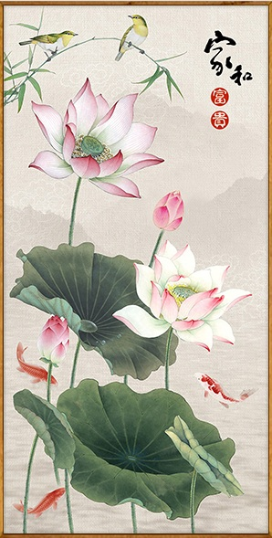 Lotus & fish (3D)(พิมพ์ลาย)