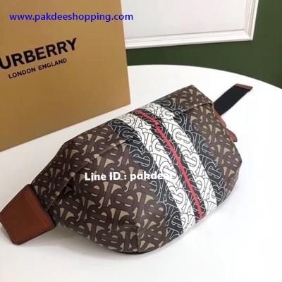 Burberry Monogram stripe bumbag Hiend size 31 cm งานหนังแท้ งานสวยเหมือนแท้