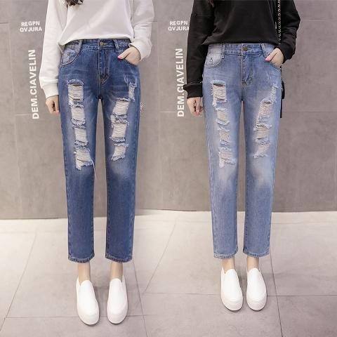 กางเกงยีนส์แฟชั่น กางเกงยีนส์ขายาวเกาหลี กางเกงยีนส์ผู้หญิง