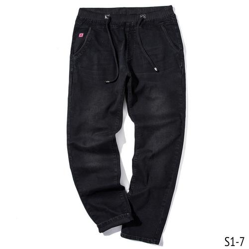 Size:40 42 44 46 กางเกงยีนส์ขายาว ผ้ายืด เอวผูก กางเกงคนอ้วน กางเกงผู้ชาย ขนาดใหญ่