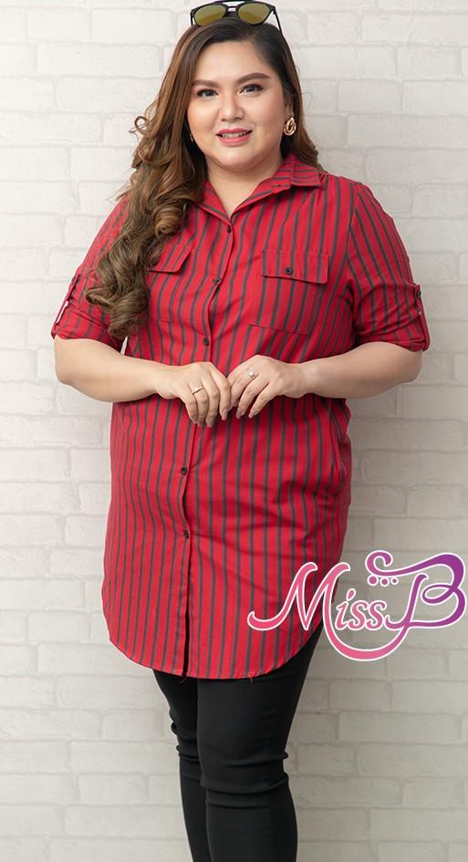 # สินค้าพร้อมส่งฟรี # มินิเดรส/เสื้อตัวยาวสาวอวบแขนสี่ส่วนลายทางโทนสีแดงมีกระดุมด้านหน้า