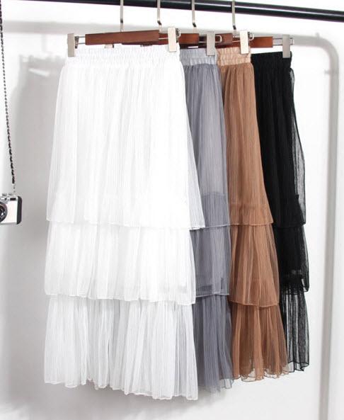 พรีออเดอร์ กระโปรงยาว กระโปรงผ้าตาข่ายแต่งซับด้านใน เอวยืดหยุ่น แฟชั่นเกาหลีสวย ๆ ใส่เป็นกระโปรงออกงานได้สี ขาว น้ำตาล ดำ ฟ้า เทา