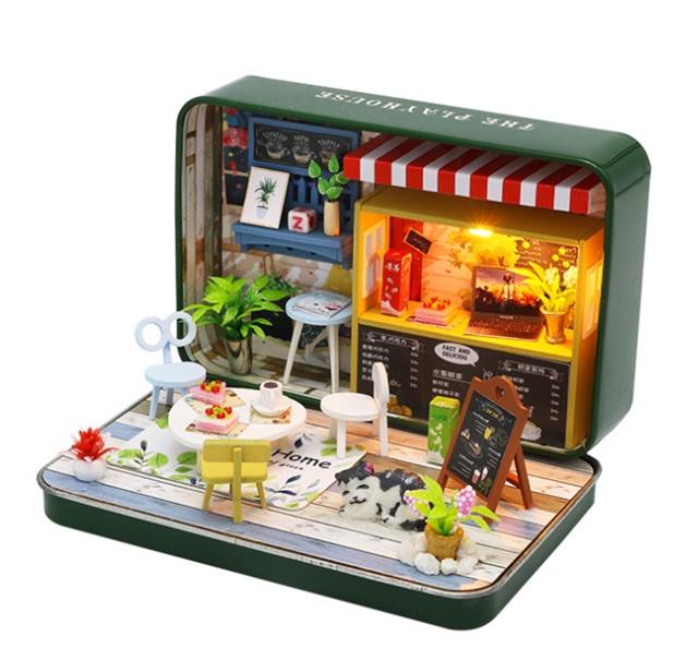 เปิดจอง>> DIYโมเดลร้านอาหารสไตล์กล่องโรงละคร โมเดลจิ๋ว บ้านตุ๊กตา ชุดอุปกรณ์ครบเซ็ตในกล่อง