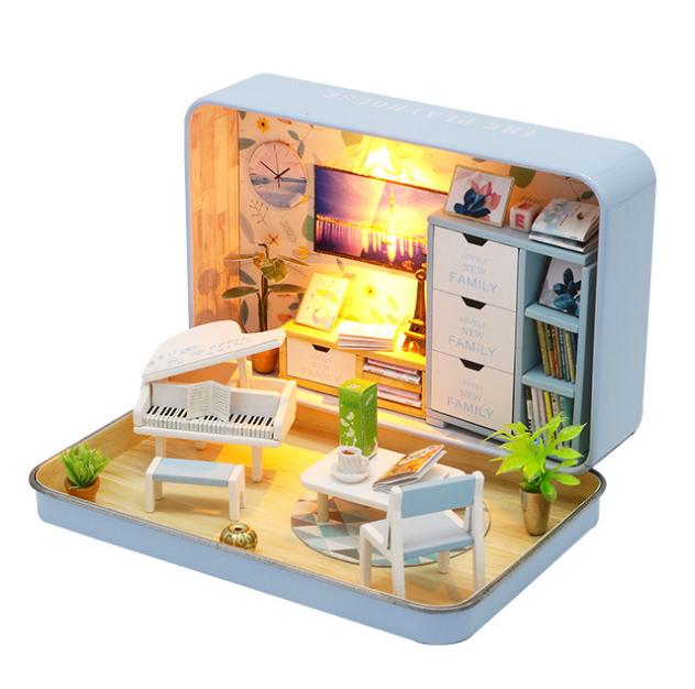 เปิดจอง>> DIYโมเดลห้องนั่งเล่นสไตล์กล่องโรงละคร โมเดลจิ๋ว บ้านตุ๊กตา ชุดอุปกรณ์ครบเซ็ตในกล่อง