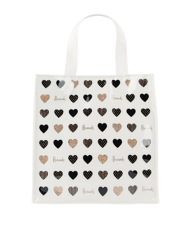 Harrods คอลเลคชั่น 2019  รุ่น Small Glitter Hearts Shopper Bag (กระดุมแม่เหล็ก) (พร้อมส่ง)