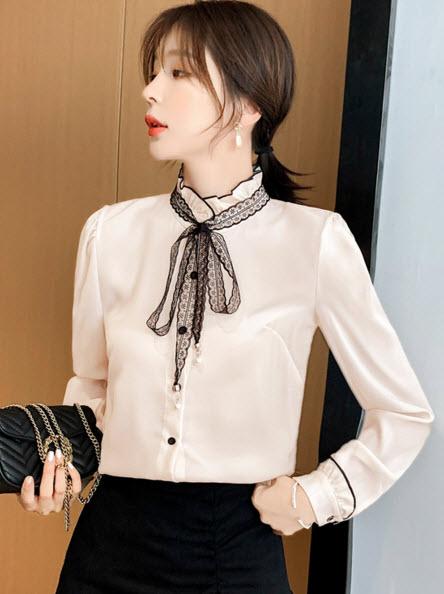 พรีออเดอร์ เสื้อเชิ้ต คอปก แขนยาว คอจีนแต่งโบว์ที่คอสวยๆ สุดเก๋ สไตลเกาหลี สี ครีม ใส่ออกงานได้