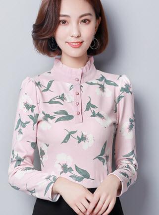 พรีออเดอร์ เสื้อเชิ้ต คอจีน ลายดอกไม้ แต่งกระดุมสีชมพูสุดหวาน  แขนยาว  ชุดทำงานสไตลเกาหลี สี ชมพู